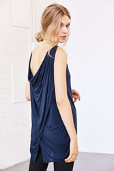 Truly Madly Deeply Cowl Back Tank Top Dark Blue