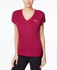 Puma Elevated Drycell V Neck T Shirt Magenta Purple