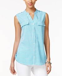 Ny Collection Sleeveless Gingham Print Utility Shirt Blue Checkered