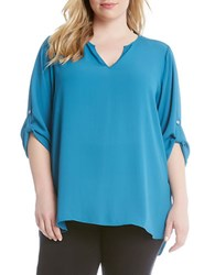Karen Kane Plus Solid Blouse With Roll Tab Sleeves Blue