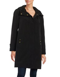 Gallery Petite Zip Front Rain Coat Black