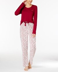 Nautica Scoop Neck Knit Top And Printed Pajama Pants Gift Set Red Ivory