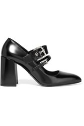 Prada Buckled Glossed Leather Pumps Black