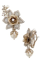 Marchesa Women's Crystal And Faux Pearl Drop Earrings