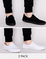 Asos Slip On Plimsolls In Black And White 2 Pack Save 20 Blackwhite