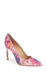 Women's Manolo Blahnik 'Bb' Pointy Toe Pump Pink Purple Floral
