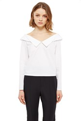 Opening Ceremony Sateen Off The Shoulder Crop Top White