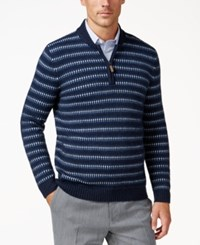 Tasso Elba Men's Quarter Zip Sweater Only At Macy's Navy Heather Combo