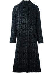 Simone Rocha Long Tweed Coat Black