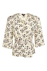 Topshop Ditsy Floral Wrap Blouse Ivory