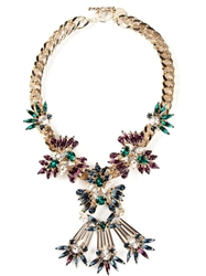 Anton Heunis Floral Crystal Cluster Bib Necklace Multicolour