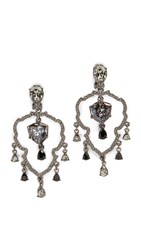 Oscar De La Renta Shield Crystal Chandelier Clip On Earrings Black Diamond