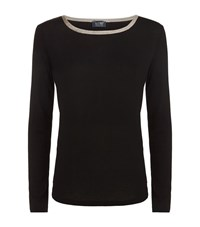 Armani Jeans Lurex Trimmed Lightweight Sweater Female Black