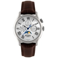 Rotary Gs02838 01 Men's Timepieces Moon Phase Chronograph Leather Strap Watch Brown Silver