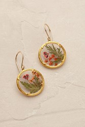 Catherine Weitzman Meadow Blossom Earrings Red Motif