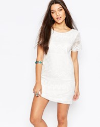Abercrombie And Fitch Embroidered Shift Dress With Lace Detail White