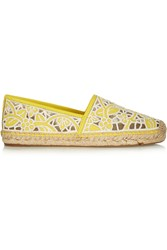 Tory Burch Lucia Silk Embroidered Leather Espadrilles Yellow