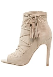 Dorothy Perkins High Heeled Ankle Boots Beige Yellow