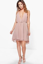 Boohoo Chiffon Plunge Draped Dress Mink