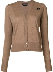 Rochas Perforated V Neck Cardigan Brown