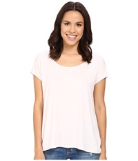 Three Dots Cap Sleeve Relaxed Tee Hint Of Blush Women's Short Sleeve Pullover White
