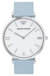 Women's Emporio Armani 'Retro' Leather Strap Watch 32Mm Blue Silver White