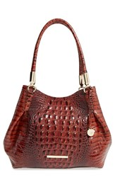 Brahmin 'Judith' Croc Embossed Leather Hobo Brown Pecan