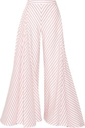Rosie Assoulin Miss Direction Striped Stretch Cotton Cloque Wide Leg Pants