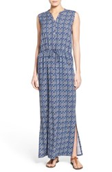 Women's Caslon Sleeveless Woven Maxi Dress Navy Ikat Print