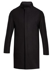 Giorgio Armani Wool Blend Overcoat Navy