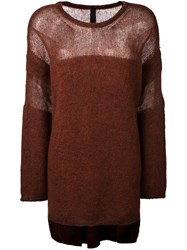 Ilaria Nistri Crew Neck Long Pullover Brown