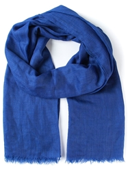 Brioni Embroidered Logo Scarf Blue