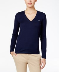 Lacoste Long Sleeve V Neck T Shirt Navy