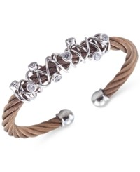 Charriol Women's Tango Bronze Pvd Stainless Steel With White Topaz Stones Cable Bangle Bracelet 04 25 1184 6L