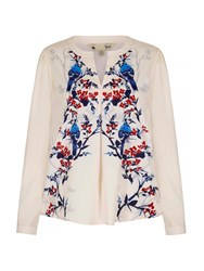 Yumi Floral Bird Printed Blouse Beige