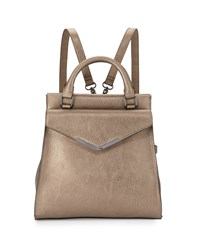 Neiman Marcus Isla Faux Leather Backpack Pewter Silver
