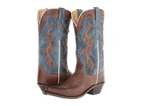 Old West Boots Lf1526 Chocolate Vintage Denim Blue Cowboy Boots Brown