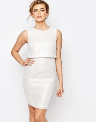 Oasis Metalic Lace Double Layer Dress Ivory