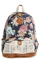 Nila Anthony Floral Print Backpack Blue Navy