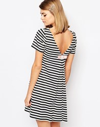 Reclaimed Vintage X Liquid Lunch Striped Shift Dress With Bow Back Multi