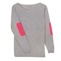 Orwell Austen Cashmere Grey And Neon Pink Elbow Patch Sweater Grey Nude Neutrals