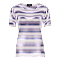 Viyella Petite Stripe Jersey Top Purple