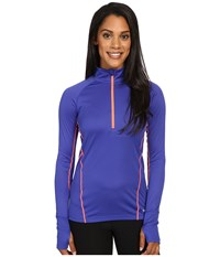 Marmot Interval Half Zip Long Sleeve Royal Night Neon Coral Women's Long Sleeve Pullover Blue