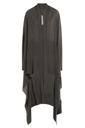 Rick Owens Draped Virgin Wool Cardigan Grey