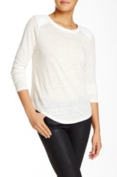 Townsen Mixed Media Faux Leather And Linen Seattle Stud Long Sleeve Sweater White