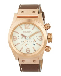 Brera Rose Gold Plated Leather Cream Dial Chronograph Watch