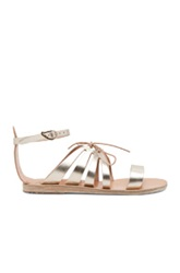 Ancient Greek Sandals Iphigenia Calfskin Leather Sandals In Gray And Metallic