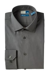 14Th And Union Trim Fit Cotton Stretch Dress Shirt Gray