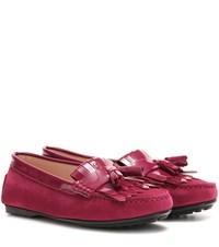 Tod's Lu Frangia Suede And Patent Leather Moccasins Pink