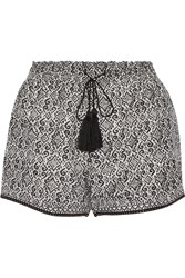 Talitha Printed Silk And Cotton Blend Shorts Black